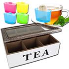Teekiste 9 Fächer TEA inkl. Teebeutel-Halter