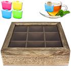 Teebox 9 Fächer Teak-Optik inkl. Teebeutel-Halter
