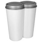 Duo Mülleimer 2x25L weiß Deckel grau