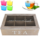 Teebox 6 Fächer - Home inkl. Teebeutel-Halter