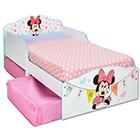 Kinderbett Holz mit Schubladen Minnie weiß
