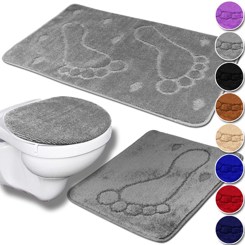 3tlg Badezimmer Set Bad Badteppich Badvorleger Deckelbezug WC