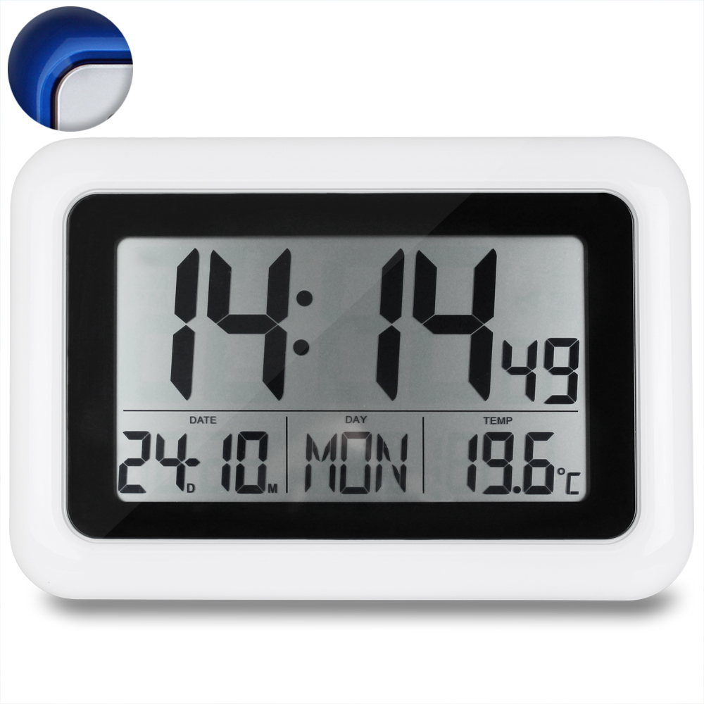 funkwanduhr digital seniorenuhr funkuhr funk uhr wanduhr lcd display temperatur ebay. Black Bedroom Furniture Sets. Home Design Ideas