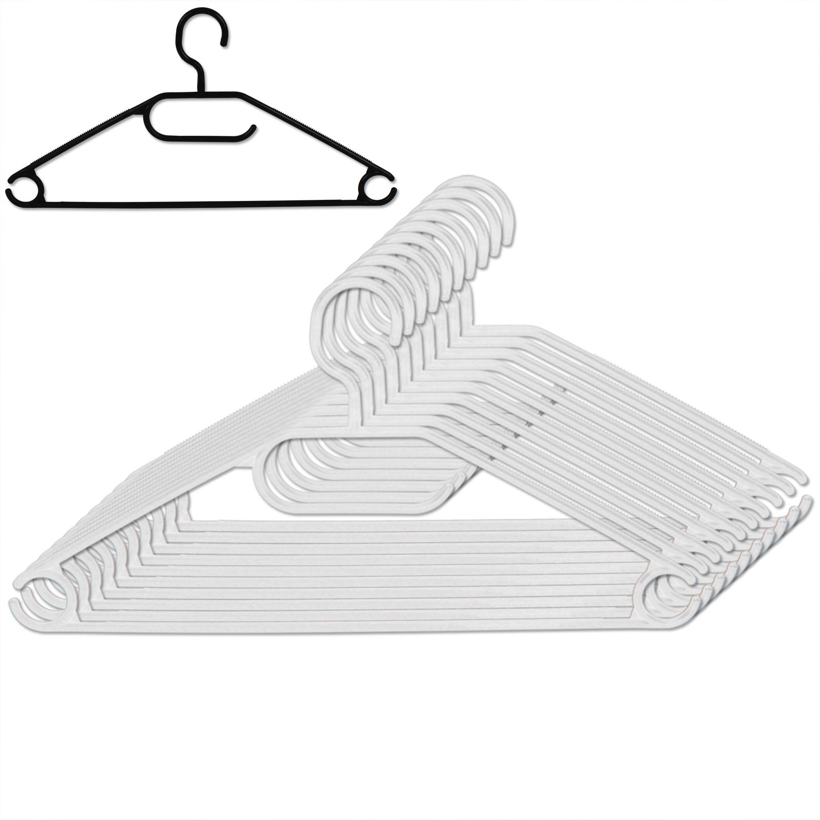 50 Stück Kleiderbügel schwarz oder weiß aus Kunststoff mit ...
