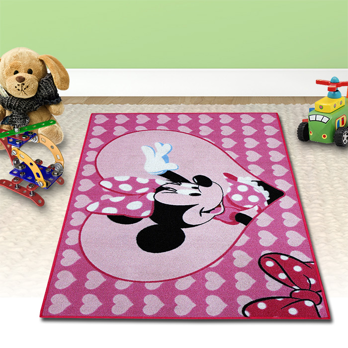 disney minnie kinder teppich m dchen rosa kinderzimmer 133x95cm spielteppich ebay. Black Bedroom Furniture Sets. Home Design Ideas