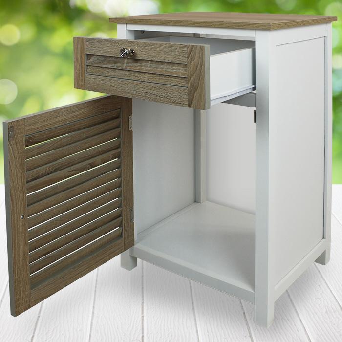 schrank schublade kommode nachttisch regal bad badezimmer lamellen t r mdf holz 4250913153621 ebay. Black Bedroom Furniture Sets. Home Design Ideas