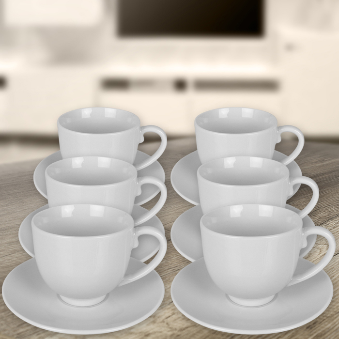 12tlg tassen set kaffee cappuccino espresso tasse kaffeetasse untertasse wei ebay. Black Bedroom Furniture Sets. Home Design Ideas