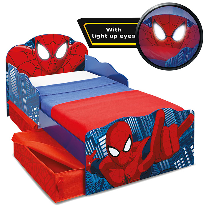 kinderbett schubladen spider man 140x70cm jugendbett. Black Bedroom Furniture Sets. Home Design Ideas