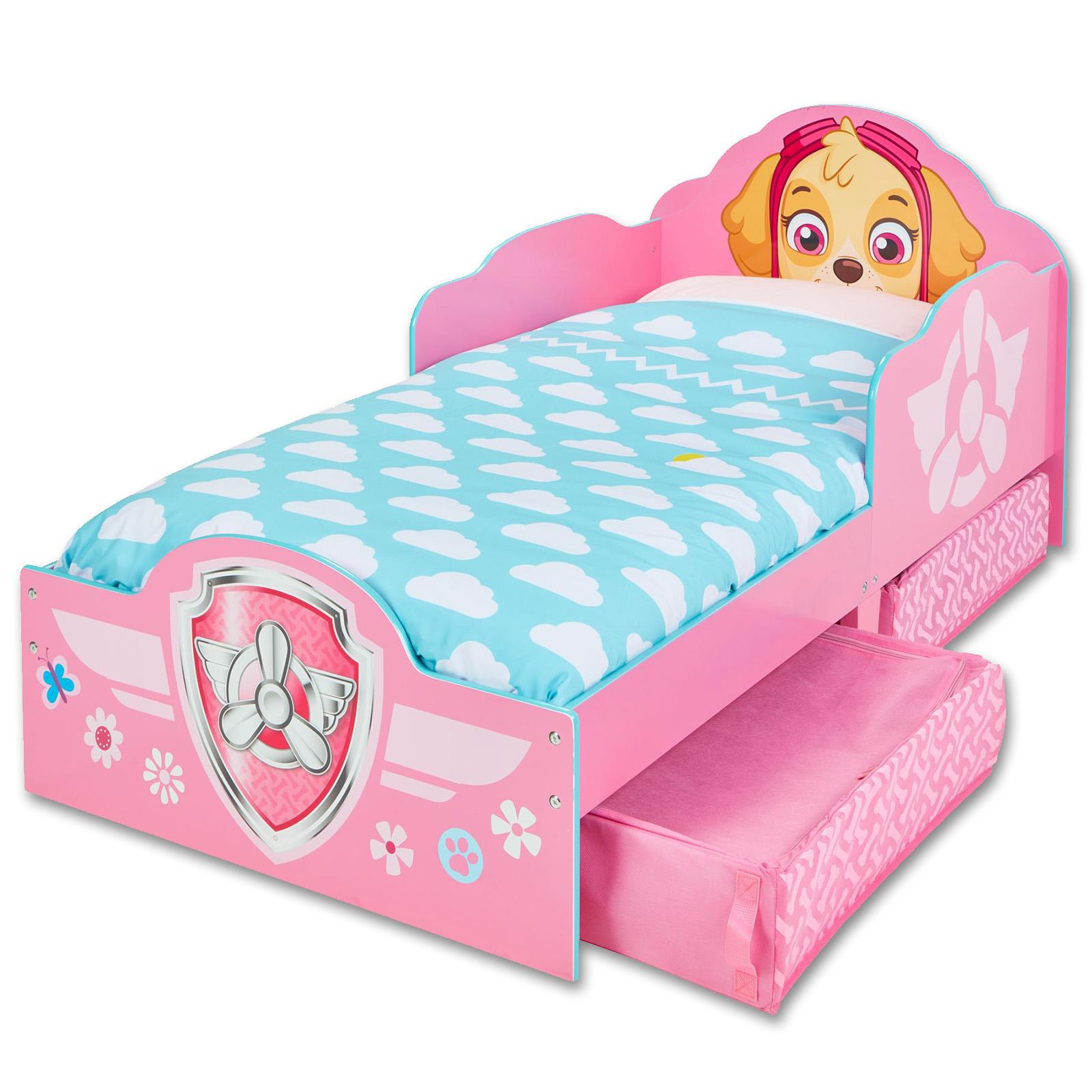 kinderbett mit schubladen paw patrol jugendbett juniorbett holz rosa 140x70cm ebay. Black Bedroom Furniture Sets. Home Design Ideas