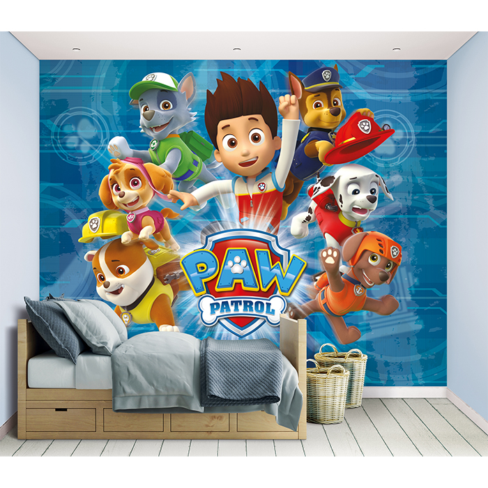 paw patrol fototapete tapete kinderzimmer tiere zimmer. Black Bedroom Furniture Sets. Home Design Ideas