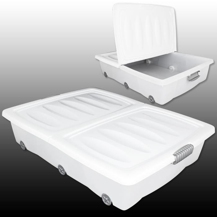 xxl unterbettkommode rollen unterbettbox plastikbox truhe kiste box rollbox 60l ebay