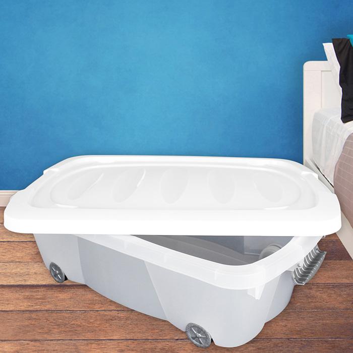 30l unterbettkommode rollen plastikbox unterbettbox truhe kiste box rollbox neu ebay
