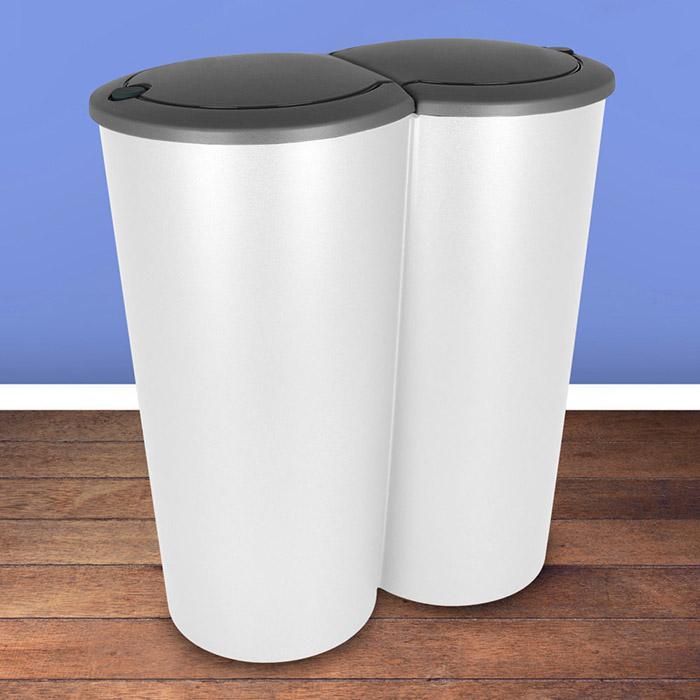 Duo Mülleimer Doppel Abfalleimer Papierkorb Müll Eimer Küche 2X25