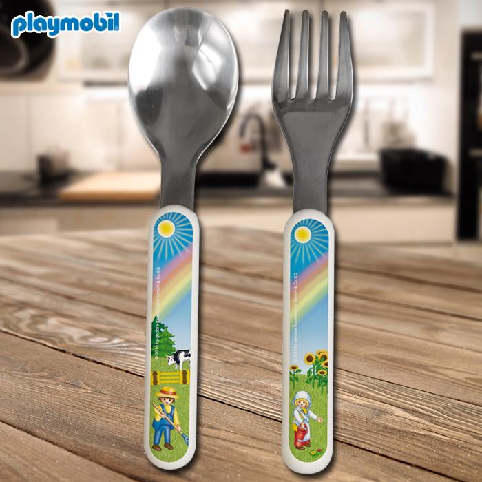 Kindergeschirr Teller Gabel Besteck playmobil/® Geschirr-Set Trinkglas L/öffel
