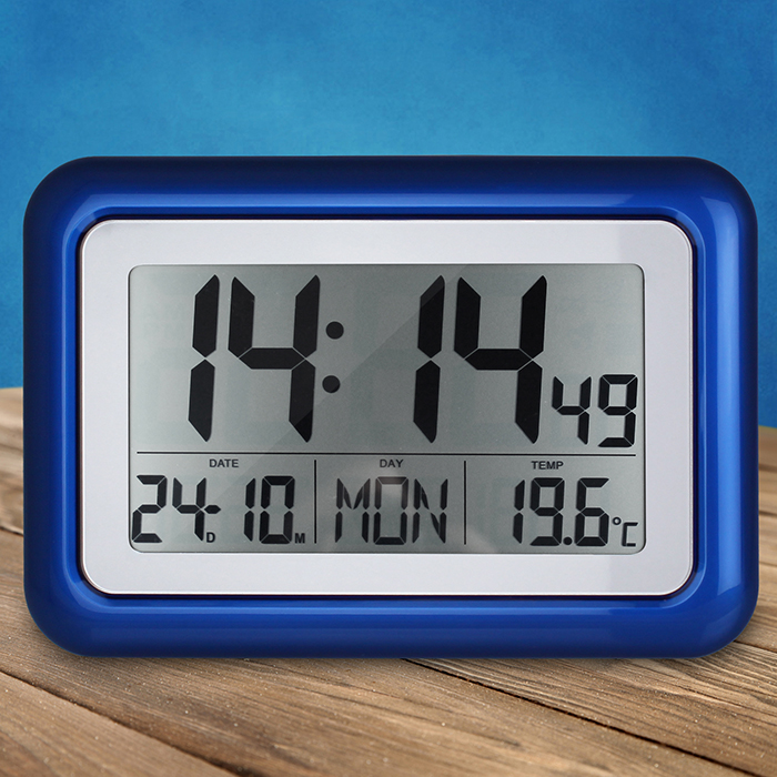 digitale funkwanduhr seniorenuhr wanduhr funkuhr funk uhr lcd display gro blau ebay. Black Bedroom Furniture Sets. Home Design Ideas