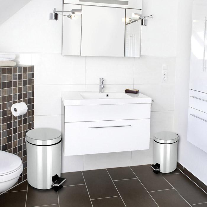2tlg treteimer set m lleimer abfalleimer kosmetikeimer tretm lleimer edelstahl ebay. Black Bedroom Furniture Sets. Home Design Ideas