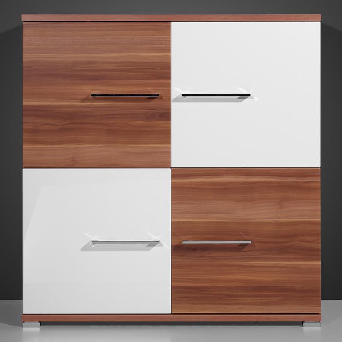 kommode regal schrank wohnzimmer anrichte m bel standschrank holz walnuss wei ebay. Black Bedroom Furniture Sets. Home Design Ideas