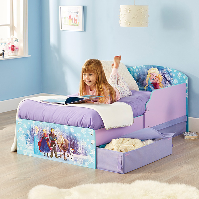 kinderbett mit schubladen disney frozen 140x70cm juniorbett jugendbett holz lila 4250913158640. Black Bedroom Furniture Sets. Home Design Ideas