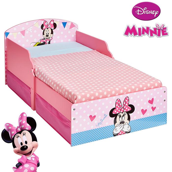 kinderbett mit schubladen disney minnie 140x70cm jugendbett juniorbett holz rosa ebay. Black Bedroom Furniture Sets. Home Design Ideas