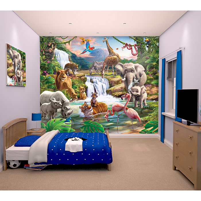 fototapete tapete kinderzimmer kinder wandbild wand deko wald tiere dschungel ebay. Black Bedroom Furniture Sets. Home Design Ideas